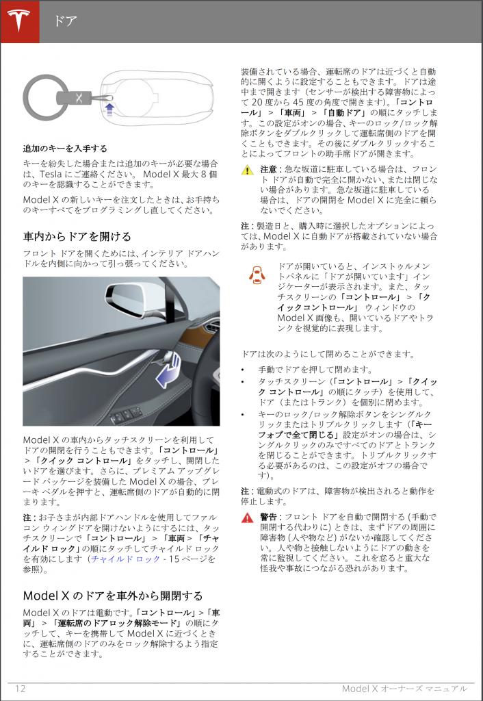 テスラ モデルX マニュアル 12ページ